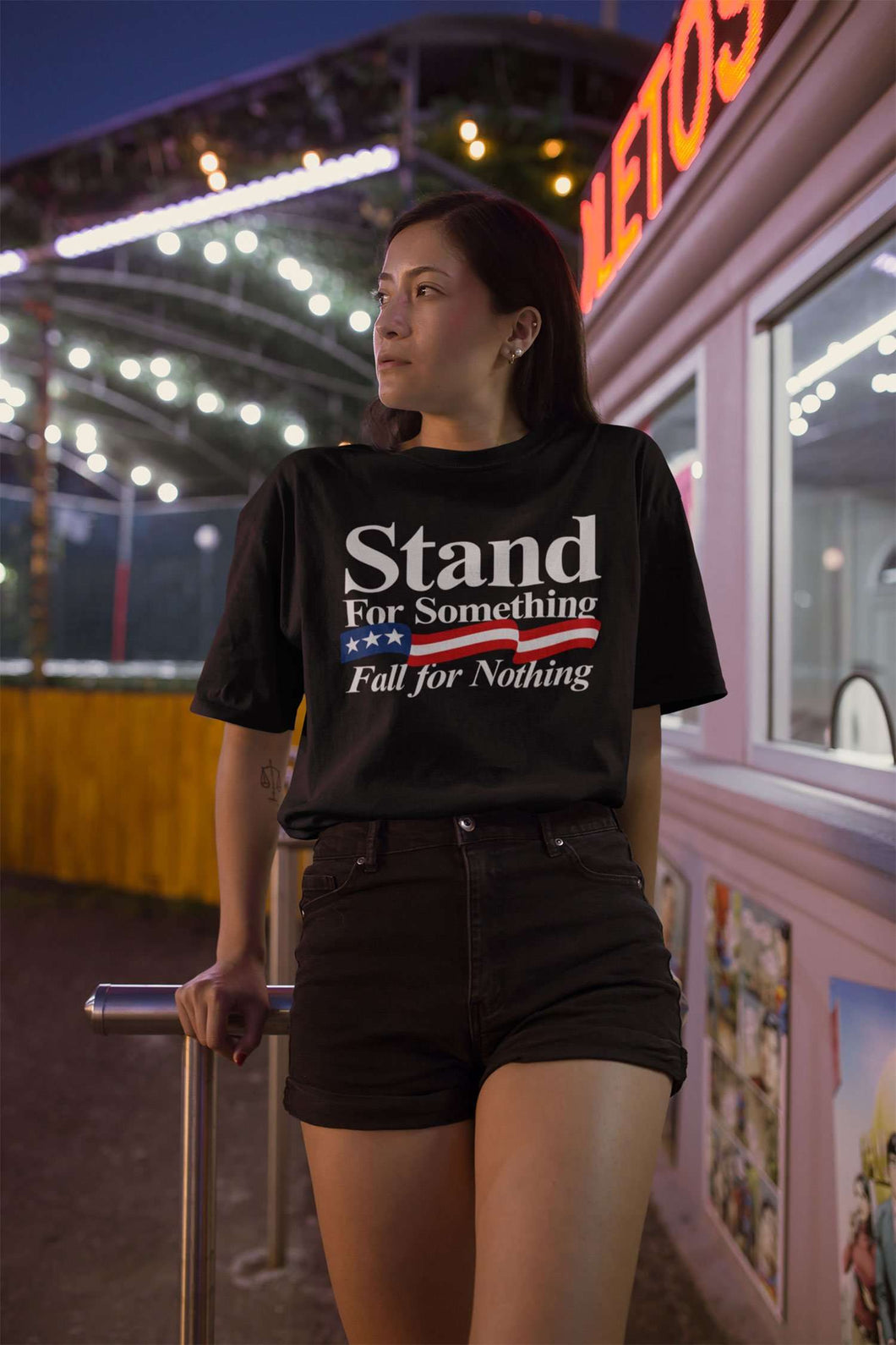 Designs by MyUtopia Shout Out:Stand For Something Fall For Nothing Unisex Jersey Short-Sleeve T-Shirt
