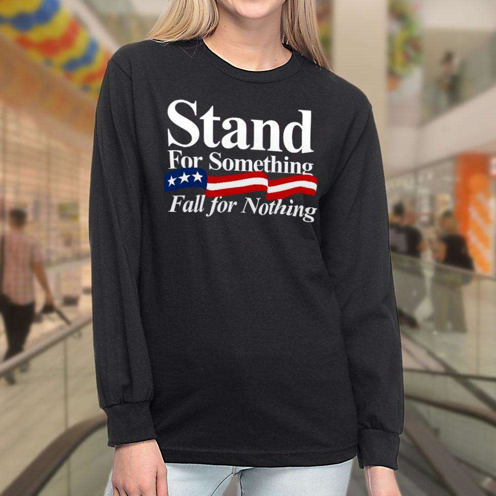 Designs by MyUtopia Shout Out:Stand For Something Fall For Nothing US Flag Long Sleeve Ultra Cotton T-Shirt