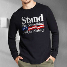 Load image into Gallery viewer, Designs by MyUtopia Shout Out:Stand For Something Fall For Nothing US Flag Long Sleeve Ultra Cotton T-Shirt