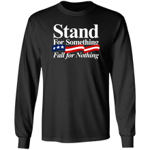 Load image into Gallery viewer, Designs by MyUtopia Shout Out:Stand For Something Fall For Nothing US Flag Long Sleeve Ultra Cotton T-Shirt,S / Black,Adult Unisex T-Shirt
