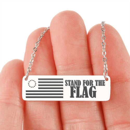 Designs by MyUtopia Shout Out:Stand for the Flag 13 Stars Flag Betsy Ross Flag Personalized Horizontal Bar Necklace,316L Stainless Steel / No,Necklace