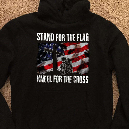 Designs by MyUtopia Shout Out:Stand For The Flag Kneel For The Cross Adult Hoodie,S / Black,Pullover Hoodie