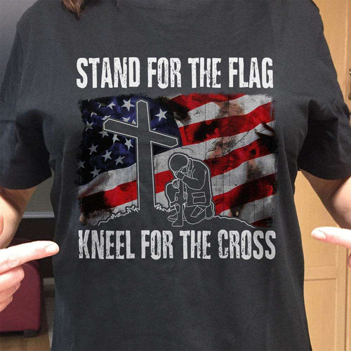 Designs by MyUtopia Shout Out:Stand For The Flag Kneel For The Cross Adult Unisex T-Shirt