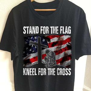 Designs by MyUtopia Shout Out:Stand For The Flag Kneel For The Cross Adult Unisex T-Shirt,S / Black,Adult Unisex T-Shirt