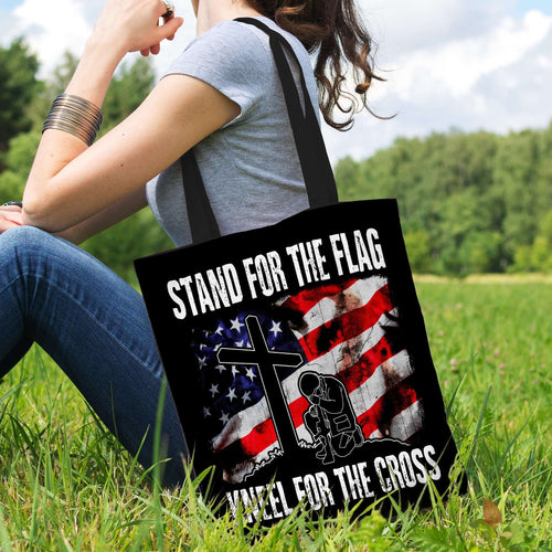 Designs by MyUtopia Shout Out:Stand For The Flag Kneel For The Cross Fabric Totebag Reusable Shopping Tote