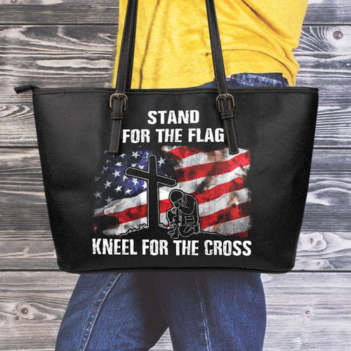 Designs by MyUtopia Shout Out:Stand For The Flag Kneel For The Cross Faux Leather Totebag Purse,Medium / Black,tote bag purse