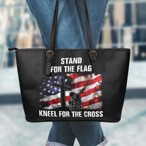 Designs by MyUtopia Shout Out:Stand For The Flag Kneel For The Cross Faux Leather Totebag Purse,Large / Black,tote bag purse