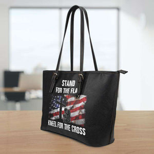 Designs by MyUtopia Shout Out:Stand For The Flag Kneel For The Cross Faux Leather Totebag Purse