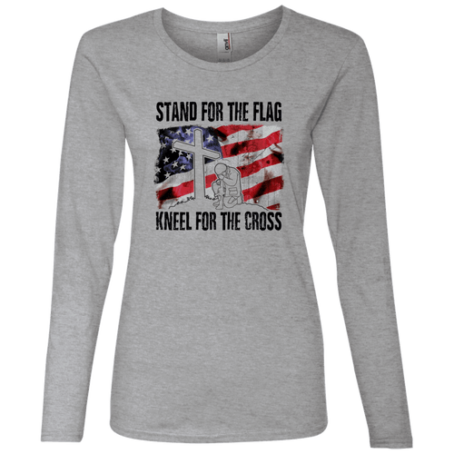 Designs by MyUtopia Shout Out:Stand for the Flag, Kneel for the Cross Mens / Ladies Long Sleeve T-Shirt,Ladies' Long Sleeve T-Shirt / S / Heather Grey,Ladies T-Shirts