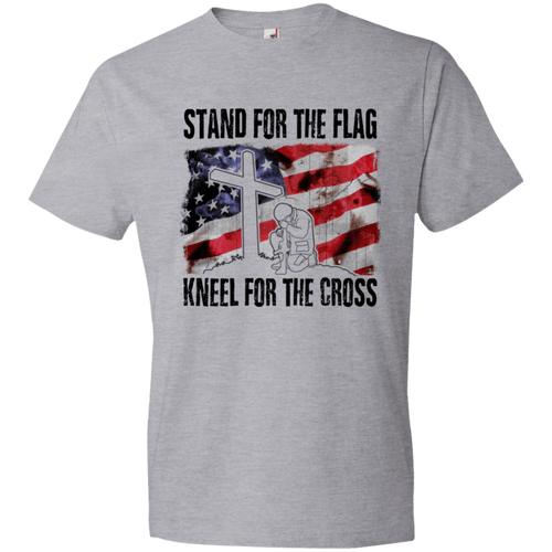 Designs by MyUtopia Shout Out:Stand For the Flag, Kneel For the Cross Mens/Ladies Crew Neck T-Shirt,Mens T-Shirt / S / Heather Grey,Ladies T-Shirts