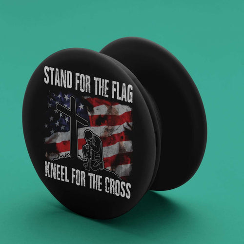Designs by MyUtopia Shout Out:Stand For the Flag Kneel For the Cross Pop-out Phone Grip for Smartphones and Tablets