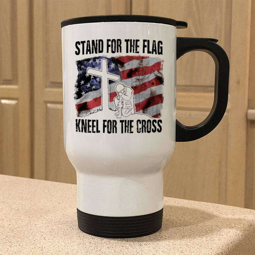 Designs by MyUtopia Shout Out:Stand For The Flag, Kneel For The Cross Stainless Steel Travel Coffee Mug w. Twist Close Lid,White / 14 oz,Travel Mug