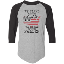 Load image into Gallery viewer, Designs by MyUtopia Shout Out:Stand for the Flag Kneel For The Fallen Flag in US Map 3/4 Length Sleeve Color block Raglan Jersey T-Shirt,Athletic Heather/Black / S,T-Shirts