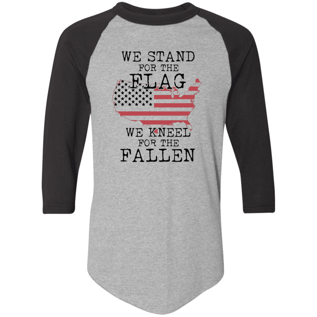 Designs by MyUtopia Shout Out:Stand for the Flag Kneel For The Fallen Flag in US Map 3/4 Length Sleeve Color block Raglan Jersey T-Shirt,Athletic Heather/Black / S,T-Shirts