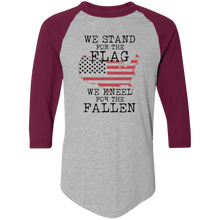 Load image into Gallery viewer, Designs by MyUtopia Shout Out:Stand for the Flag Kneel For The Fallen Flag in US Map 3/4 Length Sleeve Color block Raglan Jersey T-Shirt,Athletic Heather/Maroon / S,T-Shirts