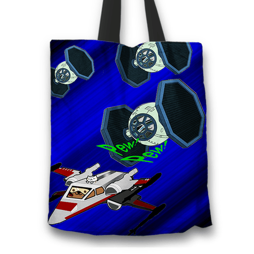 Designs by MyUtopia Shout Out:Star Nekos Fabric Totebag Reusable Shopping Tote,TIE-Fighter-Kitty / Blue,Reusable Fabric Shopping Tote Bag