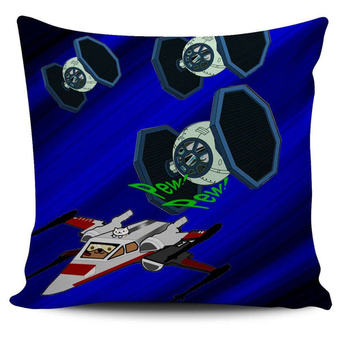 Designs by MyUtopia Shout Out:Star Nekos Pillowcases,TIE-Fighter-Kitty / Blue,Pillowcases