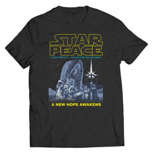 Designs by MyUtopia Shout Out:Star Peace A New Hope Awakens Christmas Christ Manger Scene Adult Tee Shirt