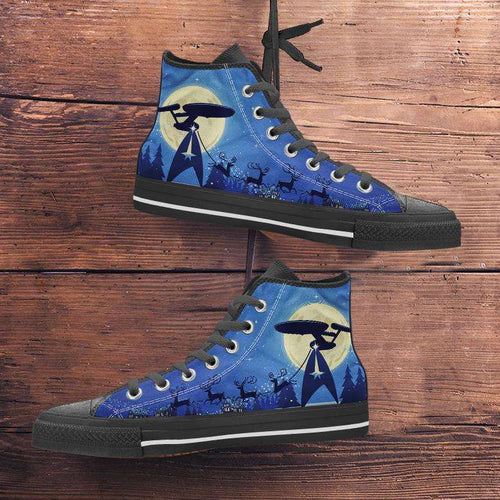Designs by MyUtopia Shout Out:Star Trek Christmas Canvas High Top Shoes,Men's / Mens US 5 (EU38) / Blue/Black,High Top Sneakers