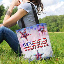 Load image into Gallery viewer, Designs by MyUtopia Shout Out:Stars and Stripes - Honor Fabric Totebag Reusable Shopping Tote,Horizontal / Red/Blue/White,Reusable Fabric Shopping Tote Bag