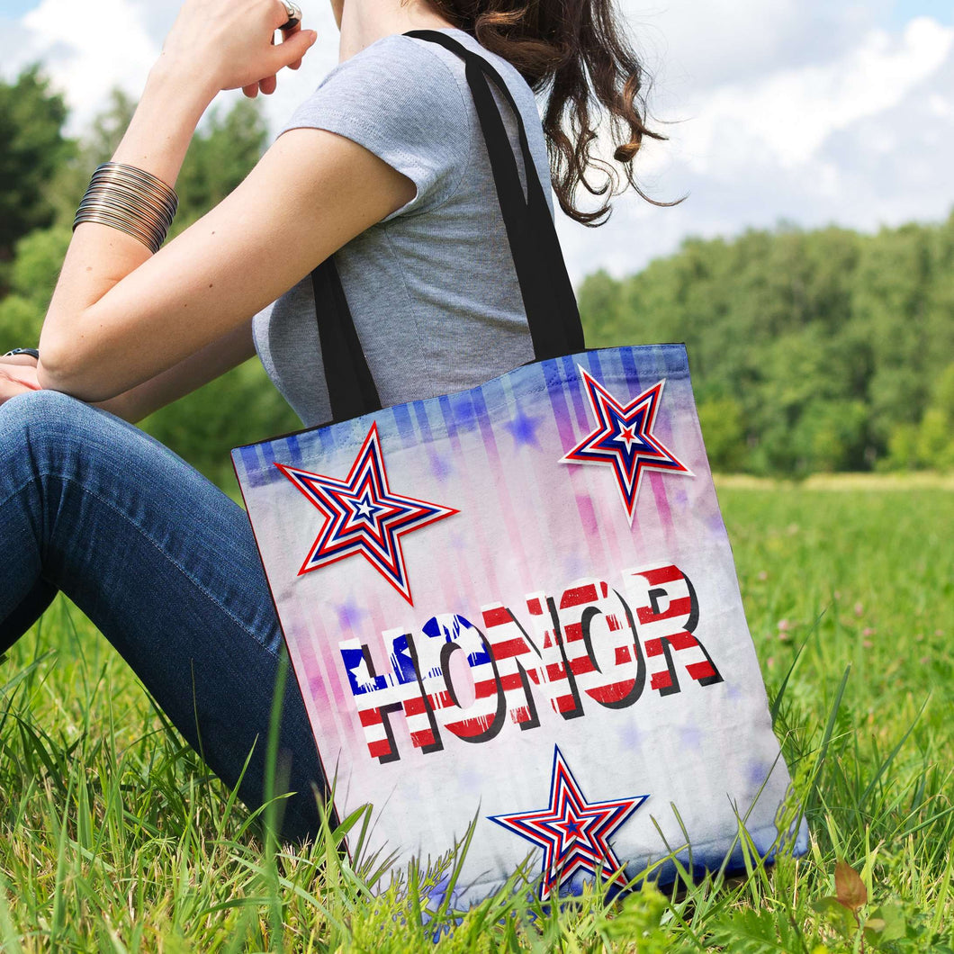 Designs by MyUtopia Shout Out:Stars and Stripes - Honor Fabric Totebag Reusable Shopping Tote,Horizontal / Red/Blue/White,Reusable Fabric Shopping Tote Bag
