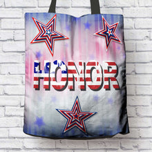 Load image into Gallery viewer, Designs by MyUtopia Shout Out:Stars and Stripes - Honor Fabric Totebag Reusable Shopping Tote