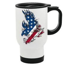 Load image into Gallery viewer, Designs by MyUtopia Shout Out:Stars and Stripes Eagle Stainless Steel Travel Mug,14 oz / White,Travel Mug