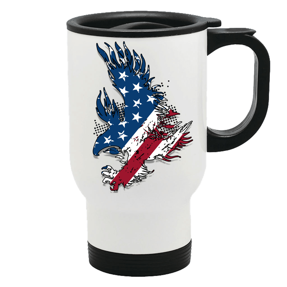 Designs by MyUtopia Shout Out:Stars and Stripes Eagle Stainless Steel Travel Mug,14 oz / White,Travel Mug