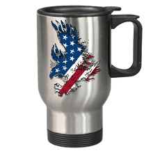 Load image into Gallery viewer, Designs by MyUtopia Shout Out:Stars and Stripes Eagle Stainless Steel Travel Mug,14 oz / Stainless,Travel Mug