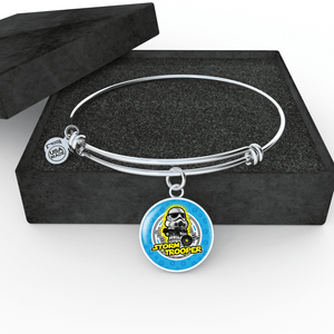 "Designs by MyUtopia Shout Out:Stormtrooper Handcrafted Bangle Jewelry,Wire Bracelet w Bangle 8""-9"" / Silver,Necklace"