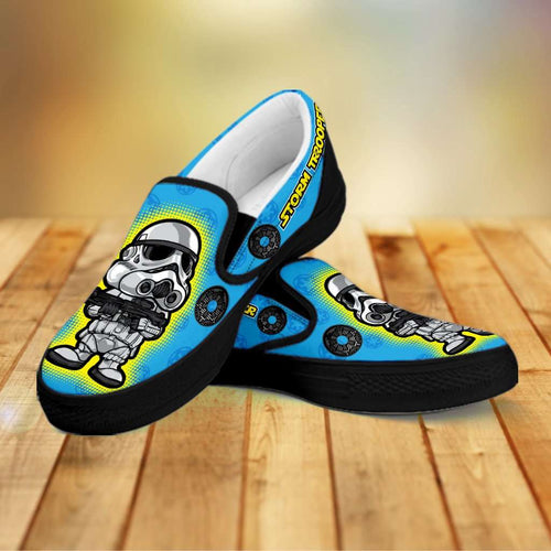 Designs by MyUtopia Shout Out:Stormtrooper Slip-on Shoes,Men's / Mens US8 (EU40) / Blue/Black,Slip on sneakers