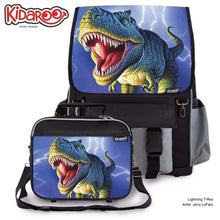 Load image into Gallery viewer, Designs by MyUtopia Shout Out:Striped T-Rex Jurassic Dinosaur Backpack And Lunchbox set,Black,Backpacks