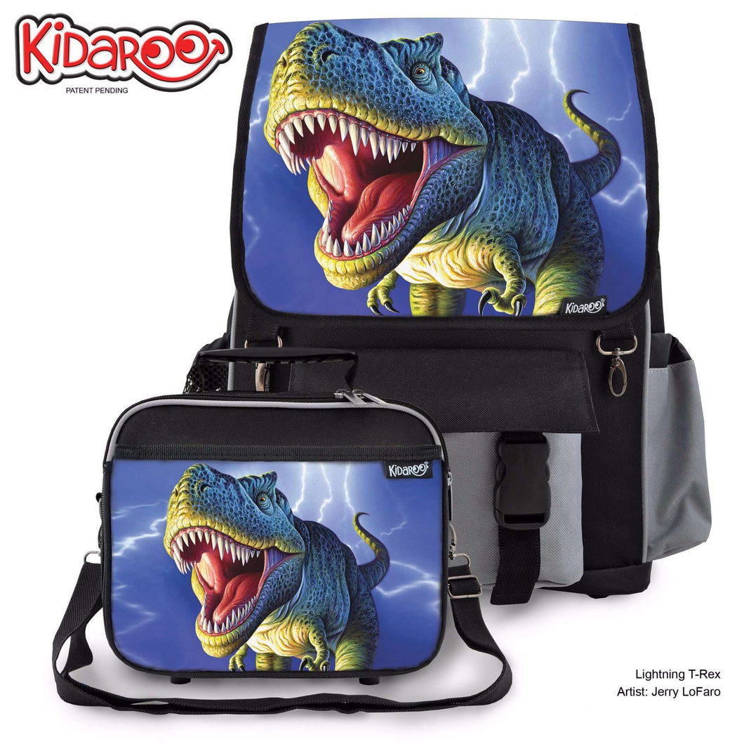Designs by MyUtopia Shout Out:Striped T-Rex Jurassic Dinosaur Backpack And Lunchbox set,Black,Backpacks