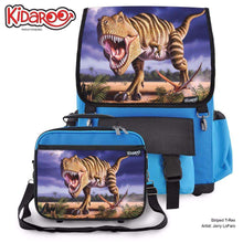 Load image into Gallery viewer, Designs by MyUtopia Shout Out:Striped T-Rex Jurassic Dinosaur Backpack And Lunchbox set,Blue,Backpacks