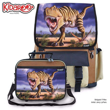 Load image into Gallery viewer, Designs by MyUtopia Shout Out:Striped T-Rex Jurassic Dinosaur Backpack And Lunchbox set,Brown,Backpacks