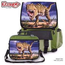 Load image into Gallery viewer, Designs by MyUtopia Shout Out:Striped T-Rex Jurassic Dinosaur Backpack And Lunchbox set,Khaki,Backpacks