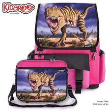 Load image into Gallery viewer, Designs by MyUtopia Shout Out:Striped T-Rex Jurassic Dinosaur Backpack And Lunchbox set,Pink,Backpacks