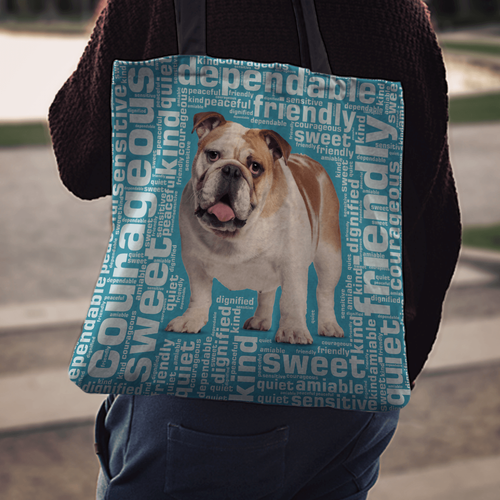 Designs by MyUtopia Shout Out:Sweet Bulldog Fabric Totebag Reusable Shopping Tote