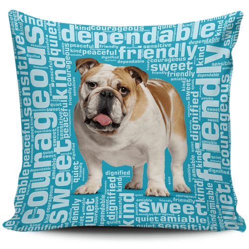 Designs by MyUtopia Shout Out:Sweet Bulldog Pillowcases,Blue,Pillowcases