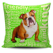 Load image into Gallery viewer, Designs by MyUtopia Shout Out:Sweet Bulldog Pillowcases,Green,Pillowcases
