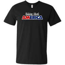 Load image into Gallery viewer, Designs by MyUtopia Shout Out:Taking Back America Trump Men's Printed V-Neck T-Shirt,S / Black,Adult Unisex Vneck Tee