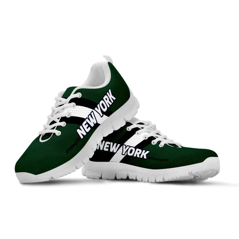 Designs by MyUtopia Shout Out:#TakingOff New York Fan Running Shoes,Kid's / 11 CHILD (EU28) / Green/White,Running Shoes