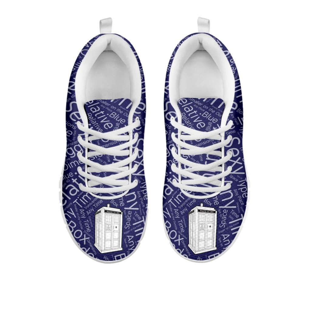 Designs by MyUtopia Shout Out:TARDIS - Women's Running Shoes,Women's / Ladies US5 (EU35) / Blue/White,Running Shoes