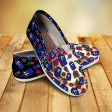 Load image into Gallery viewer, Designs by MyUtopia Shout Out:TARDIS and Rose Casual Canvas Slip on Shoes Women's Flats
