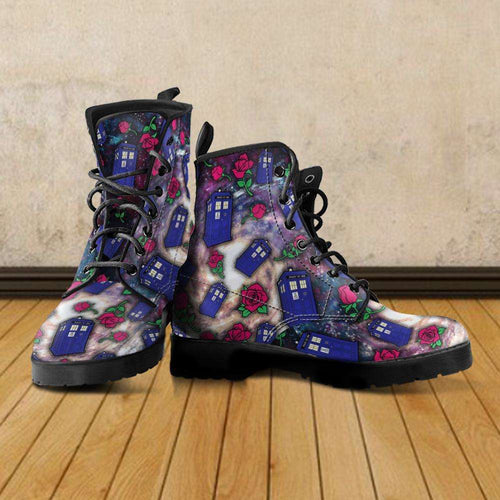 Designs by MyUtopia Shout Out:TARDIS and Rose Vegan Leather Boots