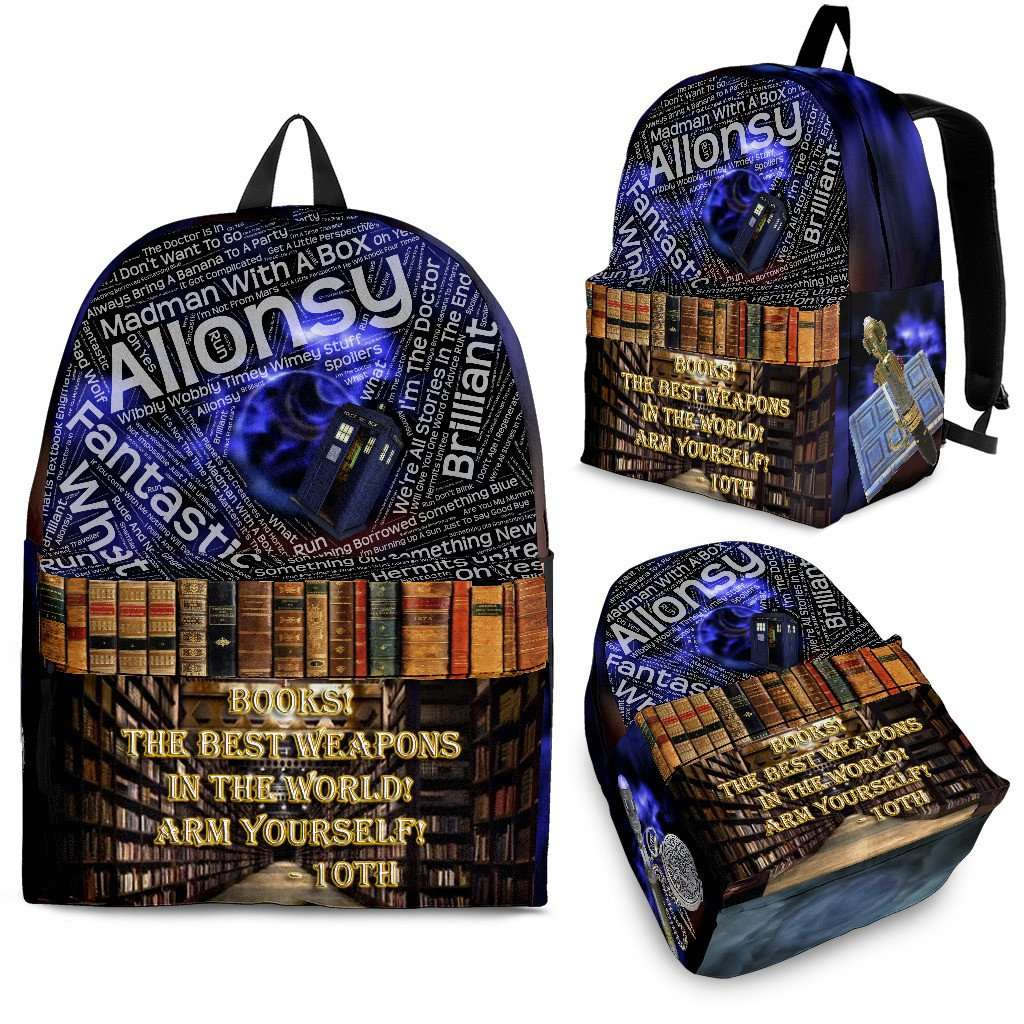 Designs by MyUtopia Shout Out:Tenth Doctor Backpack Quotes and Library,Backpack - Black - Tenth Doctor Backpack version 2 / Large (18 x 14 x 8 inches) / Adult (Ages 13+) / Multi,Backpacks