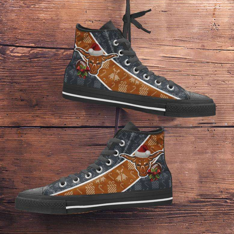 Designs by MyUtopia Shout Out:Texas Longhorns Christmas Football Pattern Canvas High Top Shoes,Men's / Mens US 5 (EU38) / Black/Burnt Orange,High Top Sneakers