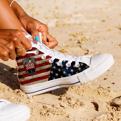 Designs by MyUtopia Shout Out:Texas Strong Canvas High Top Shoes,Women's / Ladies 6 (EU36) / Red/Off-White/Blue,High Top Sneakers
