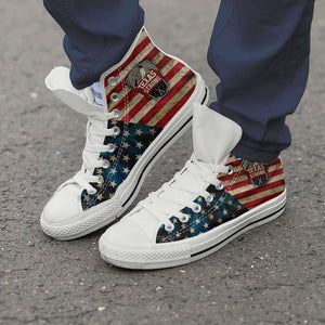 Designs by MyUtopia Shout Out:Texas Strong Canvas High Top Shoes,Men's / Men's US 8 (EU40) / Red/Off-White/Blue,High Top Sneakers