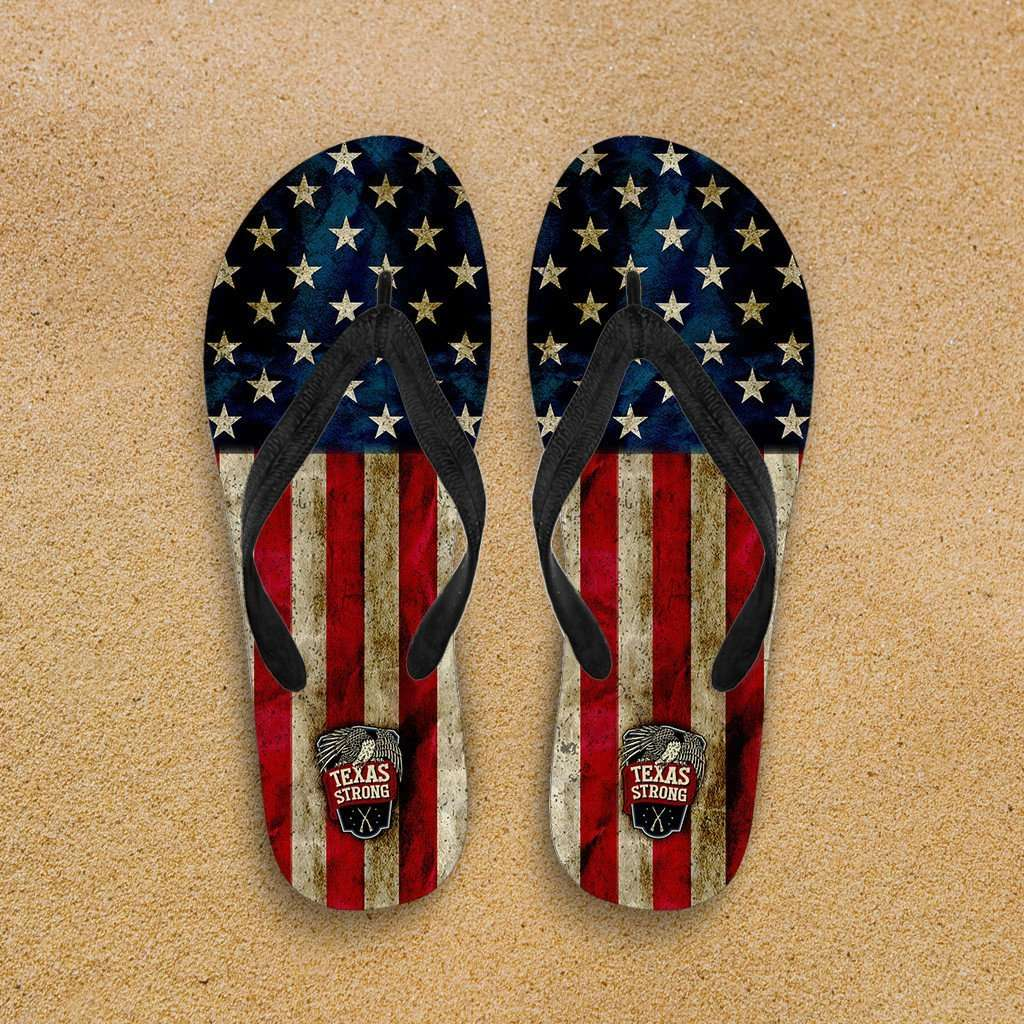 Designs by MyUtopia Shout Out:Texas Strong Flip-Flops,Women's / Women's Small (US 5-6 /EU 35-37) / Red/Blue/Off-White,Flip Flops